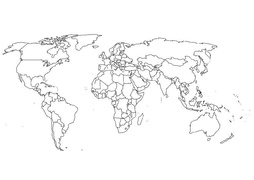 Mapas del mundo para descargar imprimir y colorear  Colorear