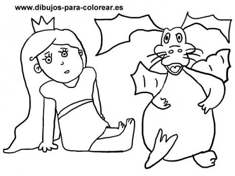 Dibujos-para-colorear-princesa-dragon