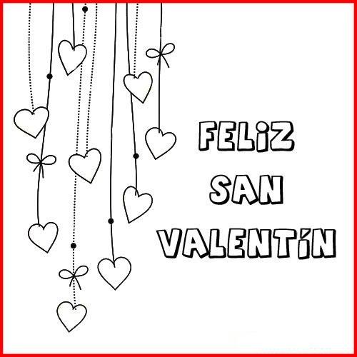 Tarjetas de Feliz San Valentín para colorear
