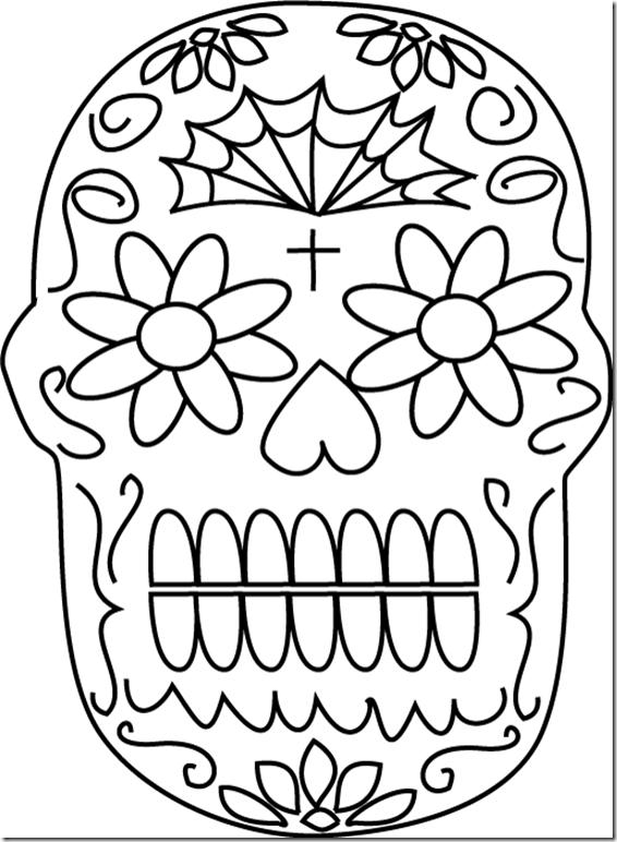 Dibujos de calaveras mexicanas para colorear en Halloween o Da de
