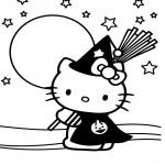 Dibujo de Kitty en Halloween para colorear