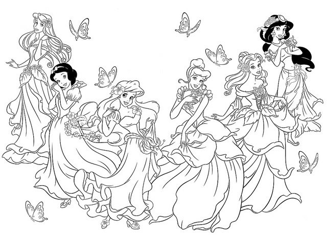 disney princess coloring pages together - photo#9
