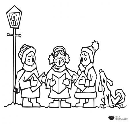 NAVIDADCOLOvillancicos-navidenos-para-colorear-ninos-cantando-villancicos-460x432