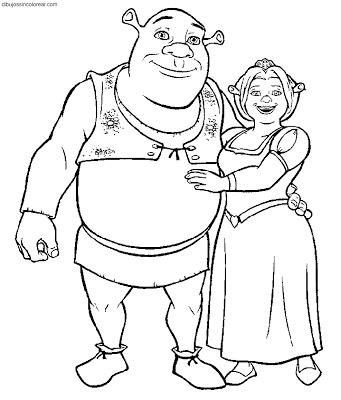 Shrek y fionapara colorear 04