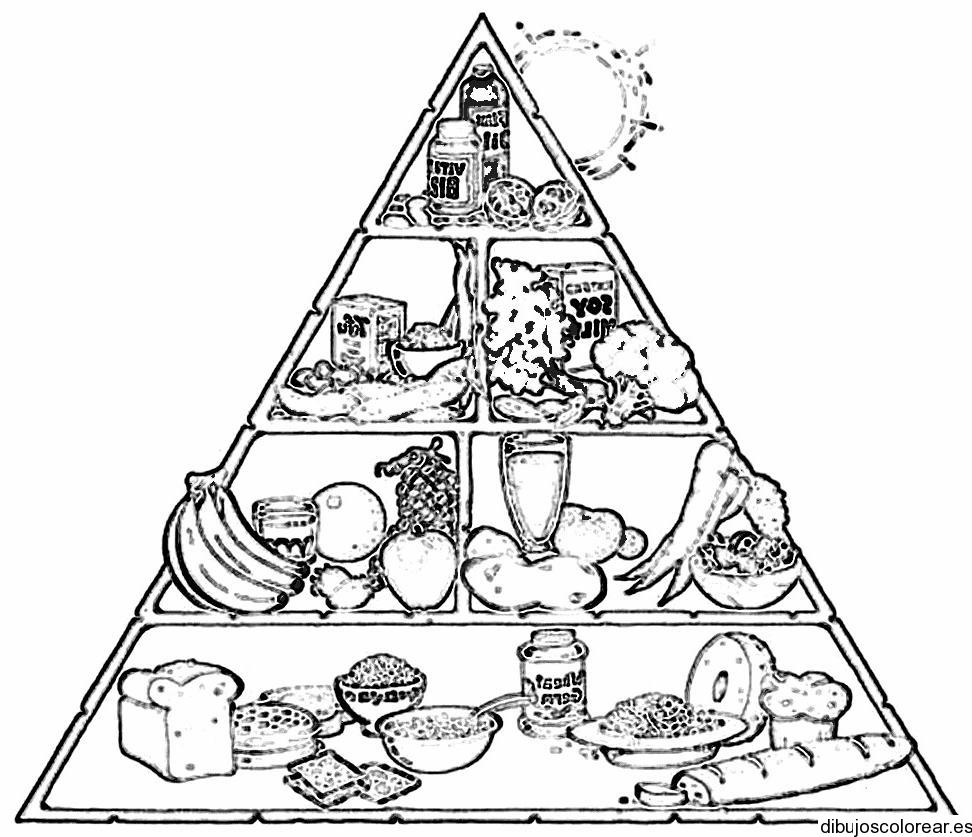 Alimentos saludables para colorear colorear im genes - Piramide alimenticia para ninos para colorear ...
