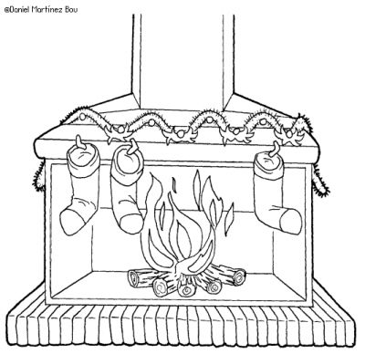 Dibujos para pintar de chimeneas en navidad colorear - Dibujos de chimeneas de navidad ...