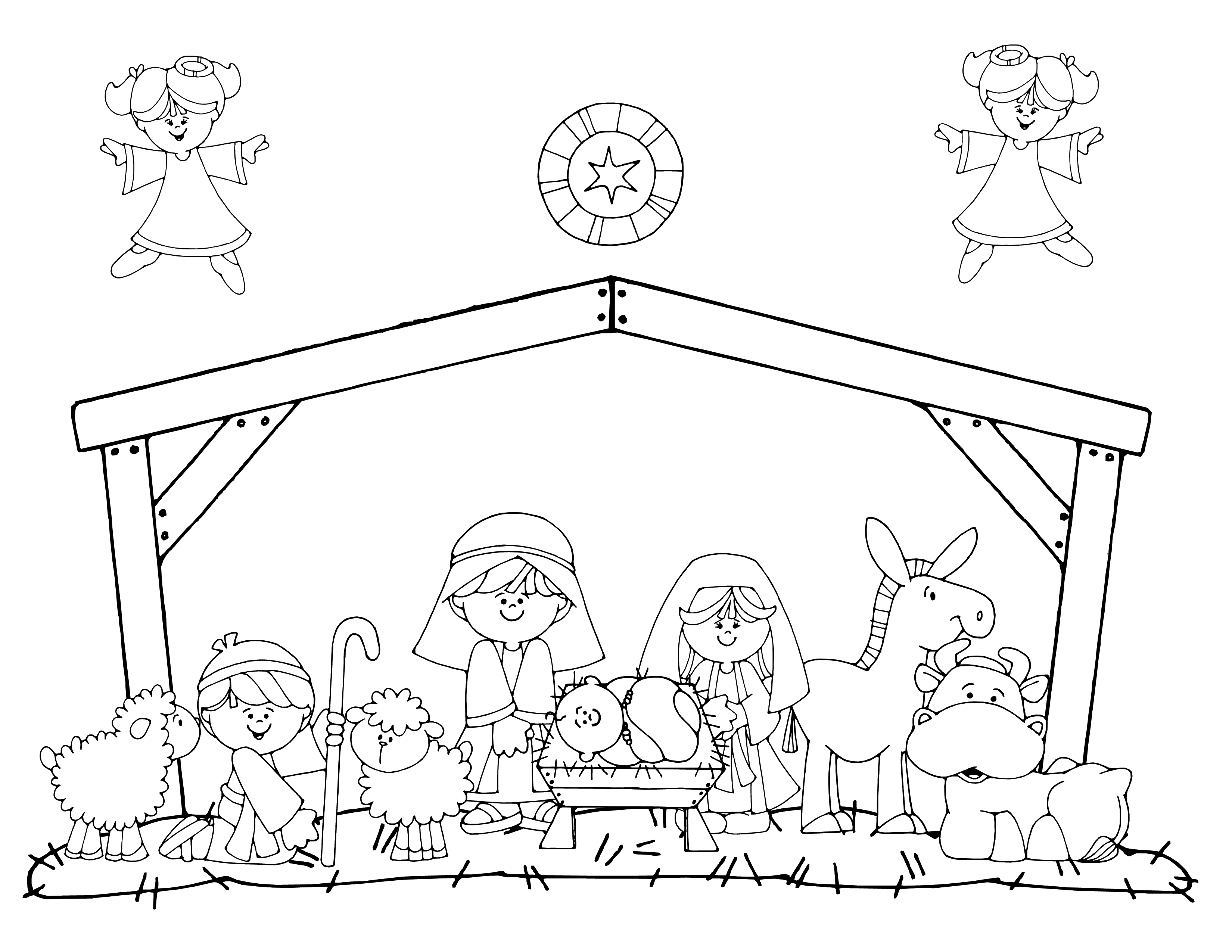 nativity animal coloring pages - photo #15