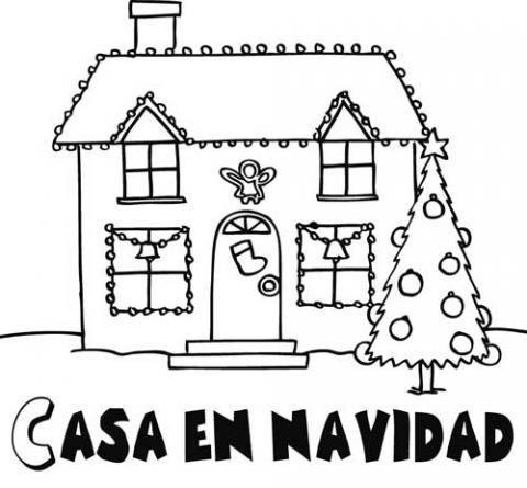 Coloreando casas decoradas para la Navidad  Colorear imágenes