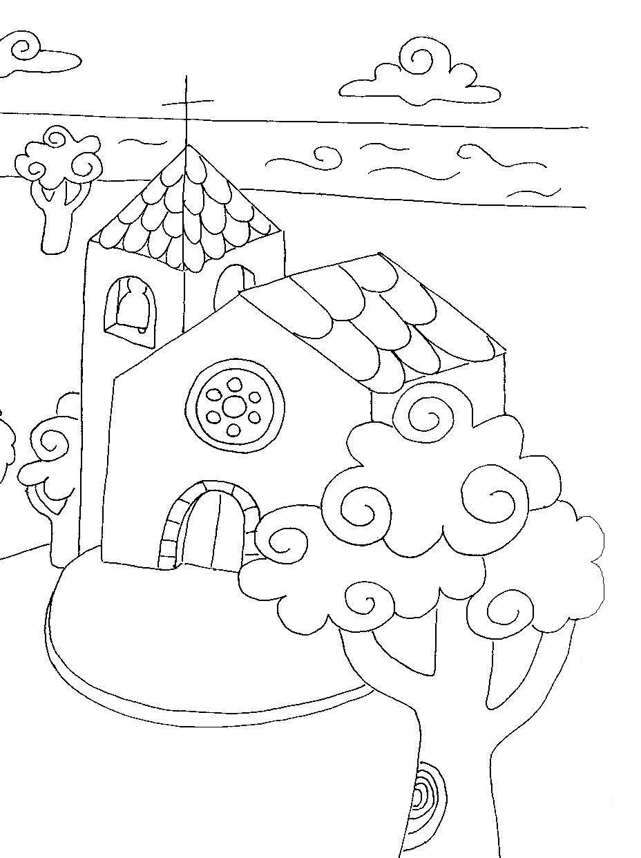 Dibujos de iglesias para pintar | Colorear imágenes