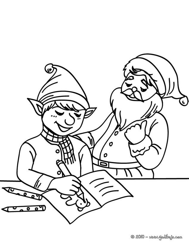 dibujos de los ayudantes de papá noel para pintar
