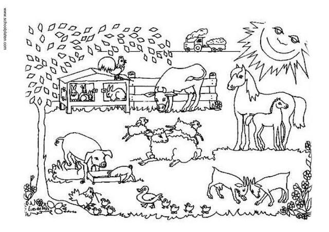 Dibujos infantiles de granjas con animales para pintar ...
