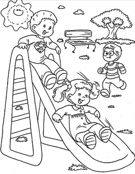 Coloreando dibujos de niños jugando | Colorear imágenes