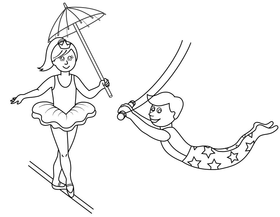 Dibujos de equilibristas de circo para pintar  Colorear imgenes