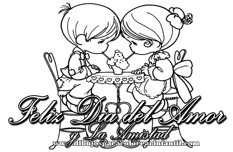 Dibujos infantiles de Felz Da del Amor y la Amistad para pintar