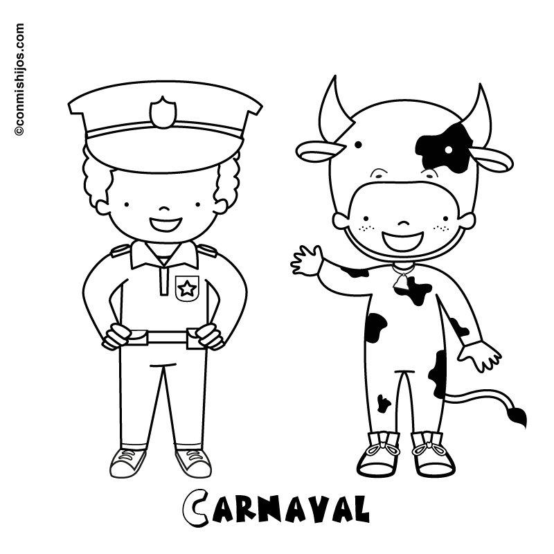 Dibujos infantiles de Carnaval para imprimir y pintar ...