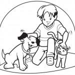 Coloreando niños jugando con sus mascotas
