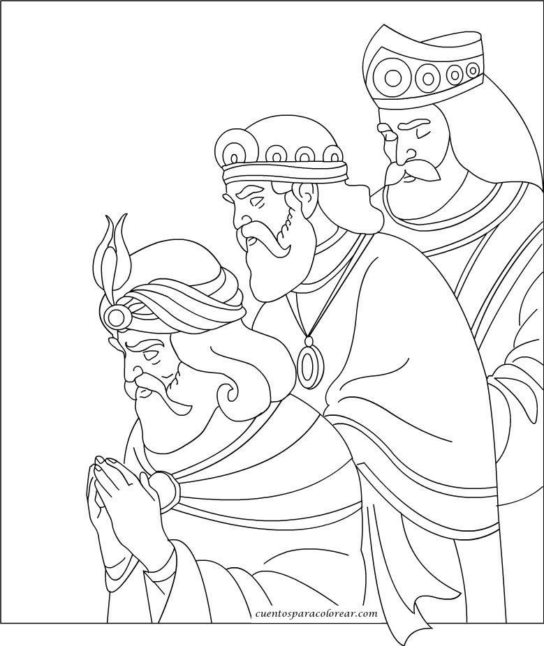 Dibujos de Melchor, Gaspar y Baltasar para colorear: Tres ...