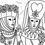 Diferentes dibujos para colorear del Carnaval de Venecia