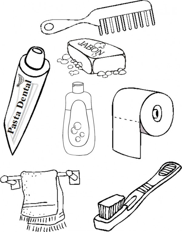 Dibujos de elementos de aseo personal para pintar | Colorear imágenes