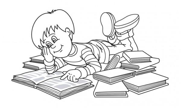 Dibujos de niños estudiando para pintar | Colorear imágenes