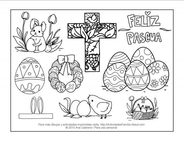 feliz pascua coloring pages | Carteles de Feliz Pascua para imprimir y colorear el ...