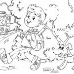 Dibujos de niños camino a la escuela para pintar