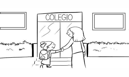 Dibujos de niños camino a la escuela para pintar | Colorear imágenes