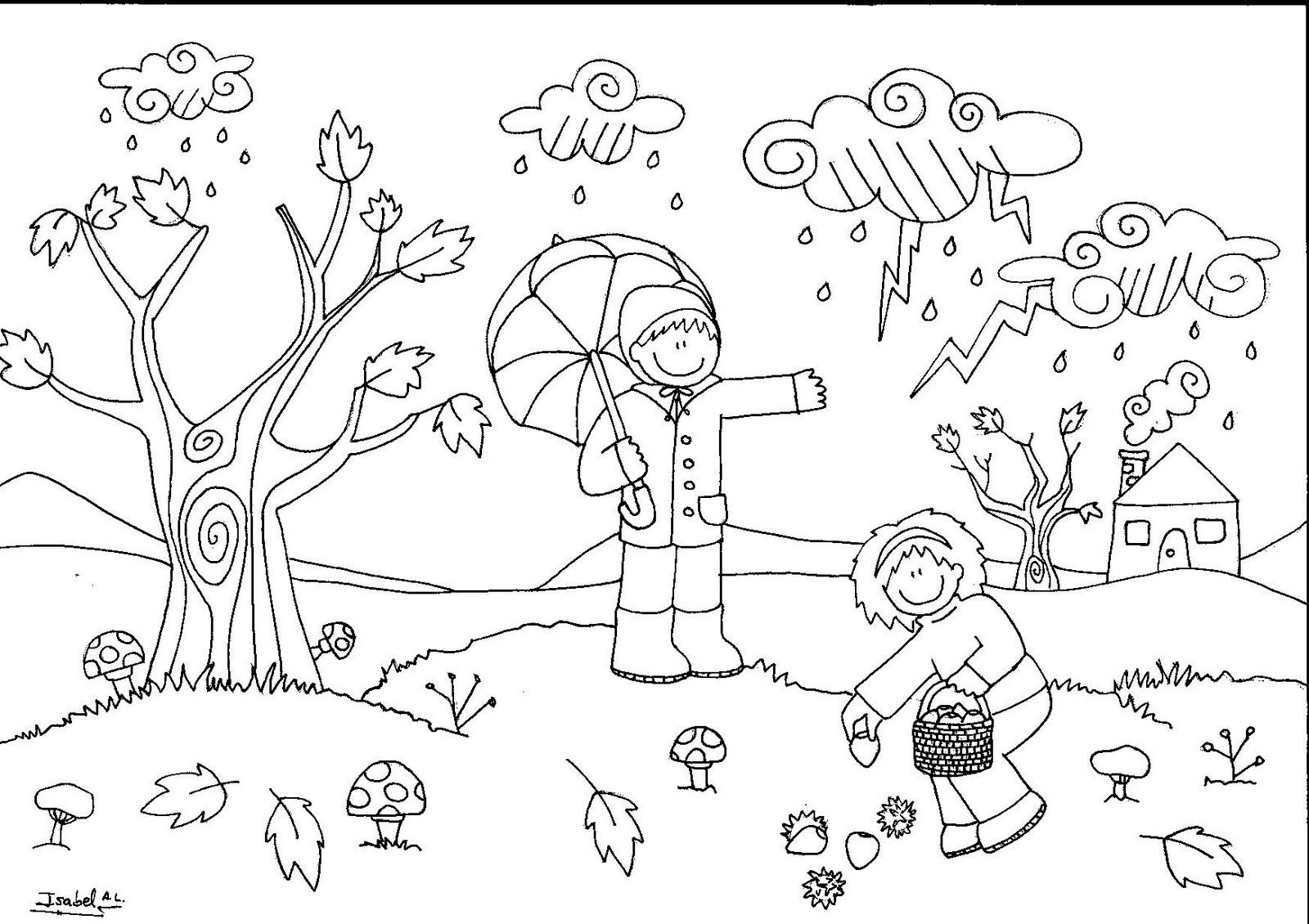 Hoja De Otono Para Colorear Para Dibujo Hoja De Otono Para: Otoño, Dibujos Para Pintar De La Estación Que Caen Las