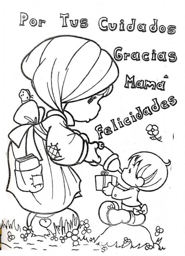 Dibujos de felicidades mam para colorear y dedicar en el - Dibujos para dibujar en la pared ...