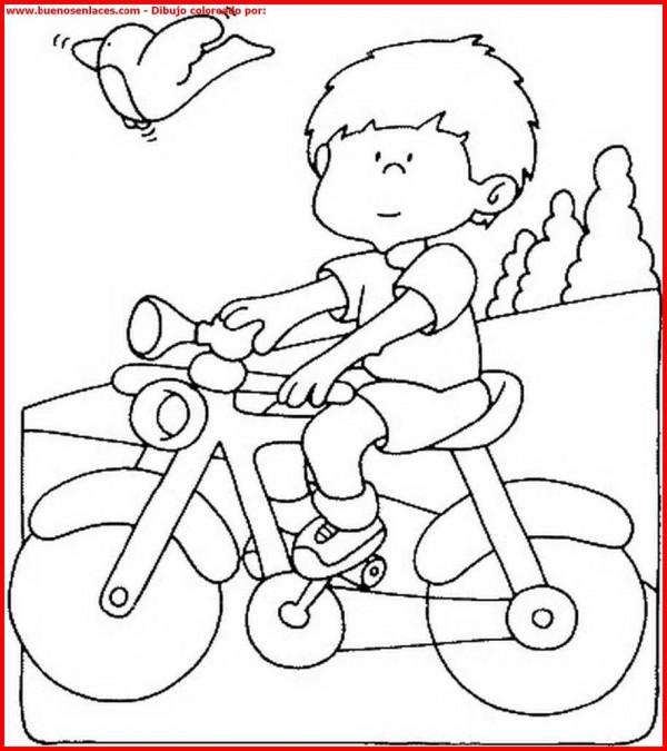 Dibujos de niños en bicicleta para colorear  Colorear ...