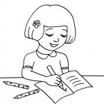 Dibujos de niños estudiando para imprimir y colorear