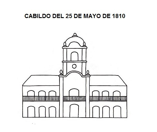 Muchos dibujos para pintar del cabildo de buenos aires y for Decoracion 25 de mayo nivel inicial