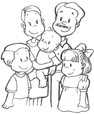 Dibujos para pintar del Da de la Familia  Colorear imgenes