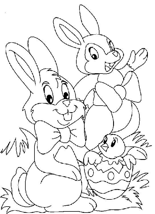 Dibujos de Felices Pascuas para colorear con huevos  conejos y