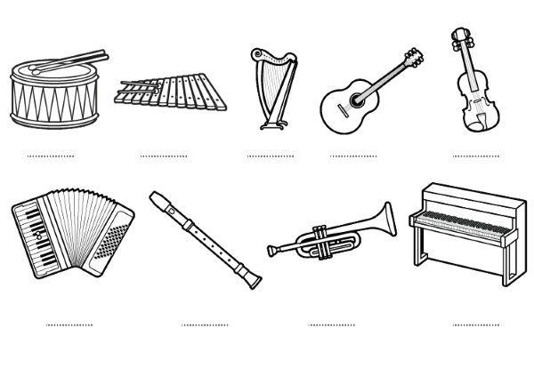 Dibujos De Letras Musicales Para Colorear: Instrumentos Musicales – Dibujos Para Colorear