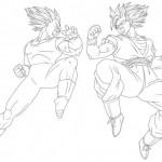 Dibujo de Goku y Vegeta para imprimir y colorear