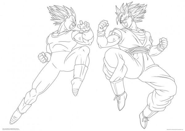 Dibujos Para Colorear Vegetta 777: Dibujo De Goku Y Vegeta Para Imprimir Y Colorear