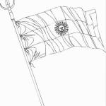 Dibujos de la Bandera Nacional Argentina con mástil para colorear