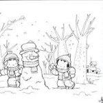 Dibujos de paisajes de invierno para imprimir y colorear