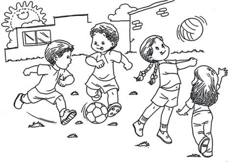 Dibujos de niños jugando para pintar | Colorear imágenes