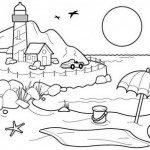 Dibujos de playa ,paisajes de la costa para colorear: Pintar el mar y las olas