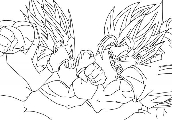 Dibujo de Goku y Vegeta para imprimir y colorear  Colorear imgenes