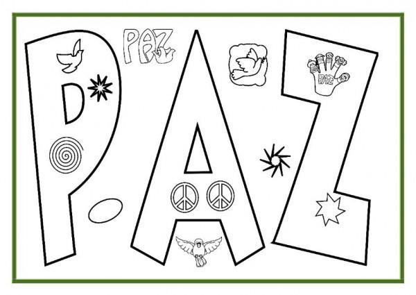 Imágenes Para Colorear Dibujos Del Día De La Paz: Carteles Con La Palabra Paz Para Colorear