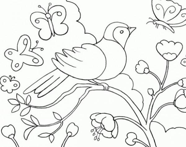 Paisajes de primavera  Dibujos para pintar  Colorear imgenes