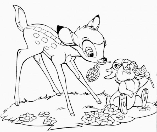 Dibujos-para-colorear-Disney-Junior-Bambi-y-su-amigo-conejo
