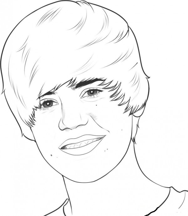 Famoso Justin Bieber Para Colorear Páginas Para Imprimir Ilustración ...