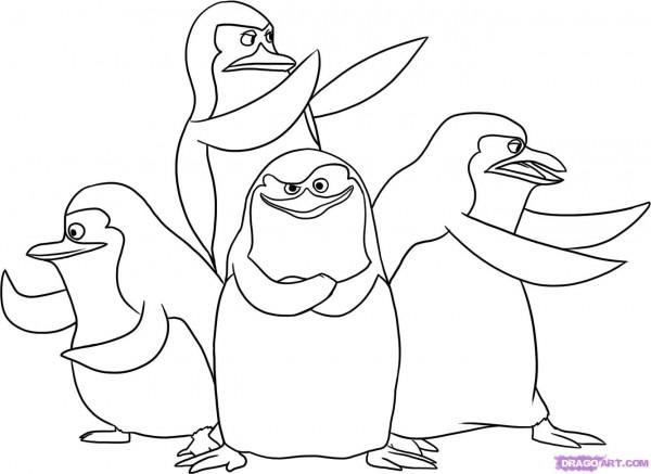 Imgenes para pintar de los pinguinos de Madagascar  Colorear