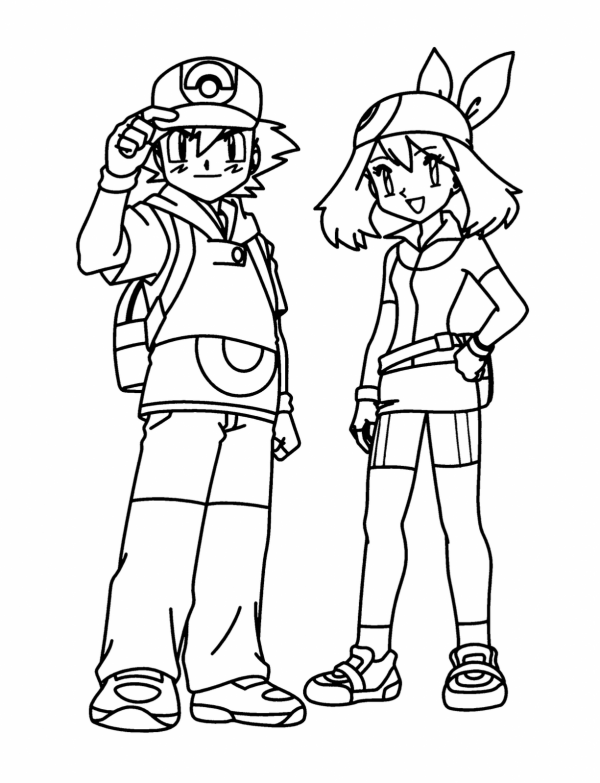 ash misty coloring pages - photo#29