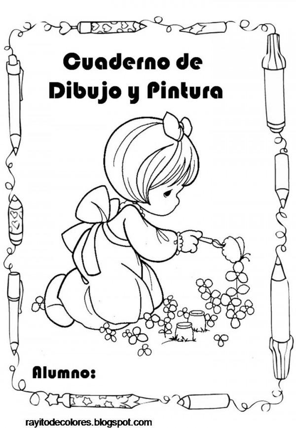 Carátulas para cuadernos escolares – Dibujos para pintar ...
