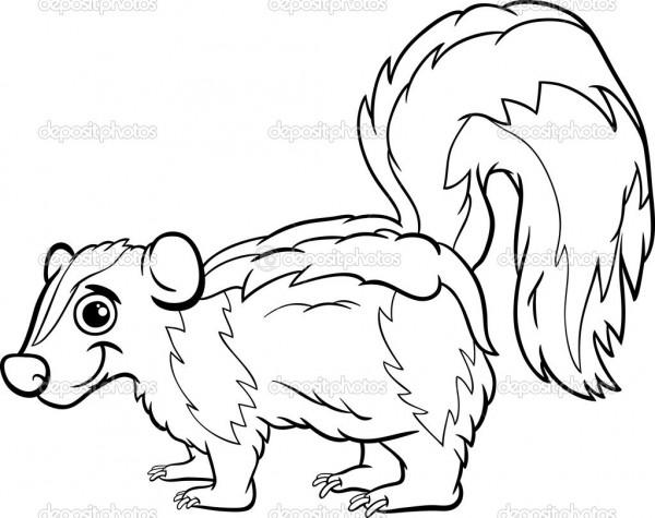 Cartoon skunk coloring pages